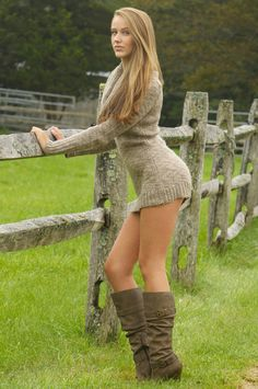 Fleece and knee high boots very sexy...  Too sexy I would wear with leggings!