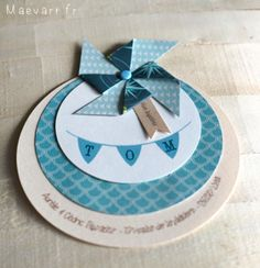 faire-part-moulin-tom-maevart-9 Diy And Crafts, Paper Crafts, Christening Invitations, Welcome Baby, Baby Scrapbook, Communion, Stamping Up, Pinwheels, Diy Cards