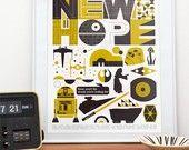 Star Wars poster, Retro print, Movie art, Nursery wall decor,  illustration, art, A New Hope 16 x 20. $40.00, via Etsy.