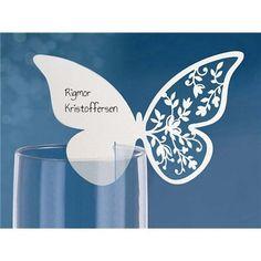 Bordkort - Laserskåret Sommerfugl med rosevinge - 10 stk - Hvite