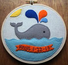 Custom Newborn Whale Hoop. .
