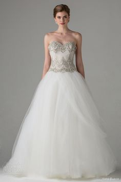 anne barge bridal fall 2015 audrey strapless ball gown wedding dress embellished bodice ethereal skirt