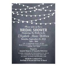 Modern String Lights On Chalkboard - Bridal Shower Personalized Invite