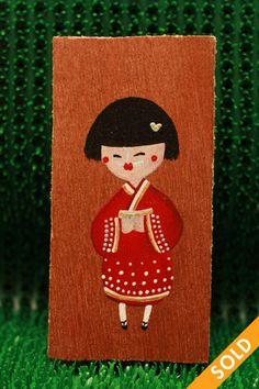 Kimono Wooden Tags, Advent Calendar, Kimono, Hand Painted, Holiday Decor, Fall, Cards, Home Decor, Autumn