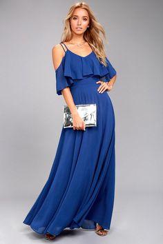 c07e6fe3dcea Earthly Desire Royal Blue Off-the-Shoulder Maxi Dress