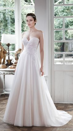 maggie sottero fall 2015 wedding dresses romantic pretty blush pink a line gown strapless sweetheart neckline hattie