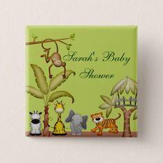 Jungle Animal Safari Celebration Baby Shower Button