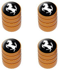 "Amazon.com : (4 Count) Cool and Custom ""Diamond Etching Horse Rearing Up Top with Easy Grip Texture"" Tire Wheel Rim Air Valve Stem Dust Cap Seal Made of Genuine Anodized Aluminum Metal {Safety Mitsubishi Orange and Black Colors - Hard Metal Internal Threads for Easy Application - Rust Proof - Fits For Most Cars, Trucks, SUV, RV, ATV, UTV, Motorcycle, Bicycles} : Sports & Outdoors"