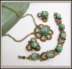 Green Necklace Set - Confetti Lucite -Brass Setting - Victorian Revival - Necklace Bracelet Earrings 60's Parure