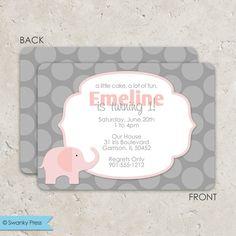 Pink and Gray Elephant Invitations - birthday or baby shower.via Etsy. pink-elephant-birthday-party