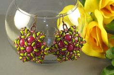 Raspberry And Lime Green Super Duo Earrings by YmrDesigns on Etsy, $75.00
