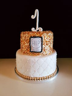 1 year anniversary cake HIP Boutique / 1 jarig bestaan HIP Boutique / gold / goud