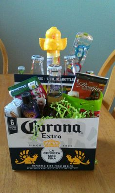 Teen boys easter basket easter pinterest teen boys easter easter basket for my hubbie i bought a six pack of carona and stuffed it negle Images