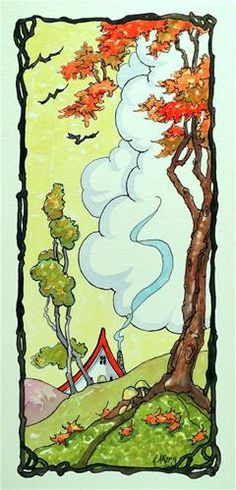 """Seasons Autumn - Storybook Cottage Series"" by Alida Akers Vintage Illustration Art, House Illustration, Watercolor Illustration, Cute Cottage, Cottage Art, Woodlands Cottage, Storybook Cottage, Whimsical Art, Book Art"
