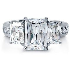 Women's 5.74 Carat Radiant Emerald-Cut 925 Sterling Silver Anniversary Ring 5-9