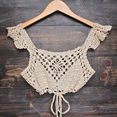 top crop hombro descubierto tejido crochet varios modelos
