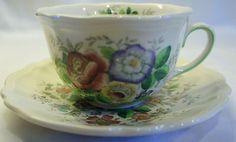 Vintage ROYAL DOULTON China MALVERN FLAT CUP & SAUCER SET  $11.99