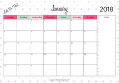 Download your free 2018 monthly printable calendar now! Available in A4, Letter and A5 size, you'll also receive a Year at a Glance calendar. For more freebies, visit www.trueblissdesigns.com.