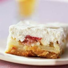 Rhubarb Custard Bars = BEST use of rhubarb - ever! This spring-like weather is making me think about rhubarb.