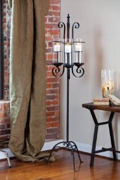 What a great addition to any room. This metal floor candle holder adds a touch of elegance to your beach home. Bathroom Candles, Kitchen Candles, Floor Candle Holders Tall, Candle Stand, Metal Lanterns, Candle Lanterns, Pillar Candles, Decorating Your Home, Interior Decorating