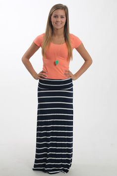 $22.99 Grey and White Stripe Maxi Skirt. Cute for Summer or Fall ...
