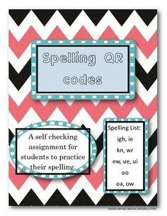 Spelling QR Task Cards