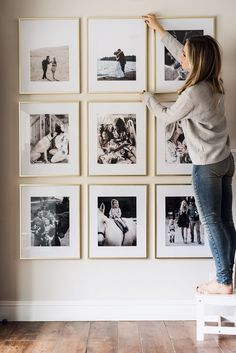 Picture frame wall that won't break the budget. Large, brass, high quality f… Picture frame wall that won't break the budget. Large, brass, high quality frames perfectly spaced out to create a beautiful space in your home. Pin: 736 x 1102
