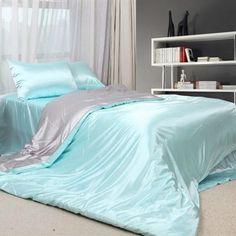 Bon Blue Satin Sheets | Light Blue Satin Full Bedding [Satin Bedding 36]