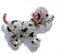 Charms Colourful Rhinestone Gold Plated Pearl Dog Brooch Pin Ladies Girls Gift