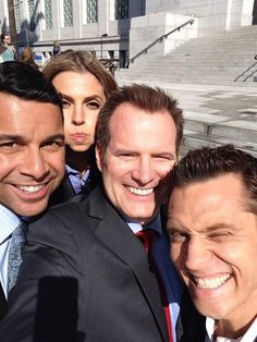 CASTLE BTS Stana Katic adorably photo-bombing Jack Coleman, Jon Huertas, and Seamus Dever
