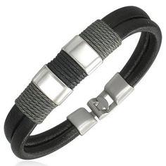 Modern Surfer Style Black Leather Mens Bracelet