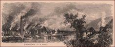 Johnstown, Pennsylvania, view, antique engraving, print, matted, original 1876 #antique