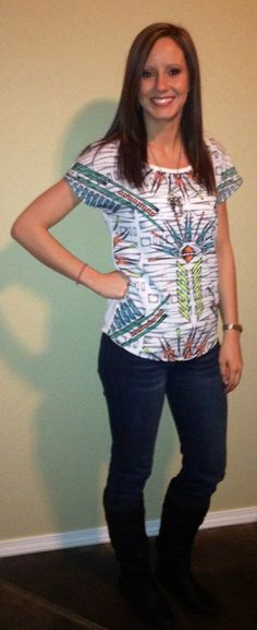 Fun tribal shirt and skinny jeans
