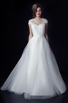 illusion neckline wedding dress by Heidi Elnora from fall 2014 bridal market   via junebugweddings.com