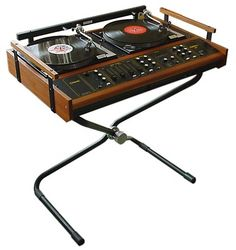 Vintage Duo Turntable Deck on a really modernist Stand.  Vintage is beautiful. #retro