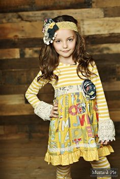 Mustard Pie Clothing Clover Twirl Dress Mustard Vanilla Fall 2014 preorder phase 1