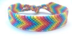 Rainbow Braided Friendship Bracelet. I haven't made one in years & I don't remember mine looking this good. Now I want to break out the cross stitching thread!