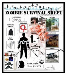 """""""🌳Zombie Survival Sheet ~ 5 Day Zombie Challenge🌳"""" by shinee4ever ❤ liked on Polyvore featuring Whetstone Cutlery, New Look, S'well, Belk & Co., Native State, rag & bone, John Lewis, Improvements and Jayson Home"""