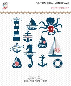 Nautical Ocean Monograms SVG DXF EPS png octopus seahorse sail boat anchor Cricut Design, Silhouette studio, Make the Cut, Instant Download by SvgCutArt on Etsy