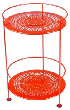 ***$196 Fermob Double Top Small Bistro Side Table, Perforated Top from French Bistro Furniture