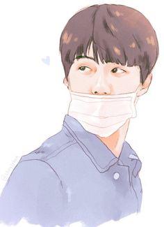 Cre: the owner/as logo Sehun, Kpop Drawings, Art Drawings, Chibi, Children Sketch, Exo Fan Art, Kpop Fanart, Illustration Art, Kawaii