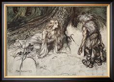 Mime finds the mother of Siegfried in the forest.. illustration from 'Siegfried and the Twilight.