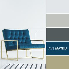 A minimalist living room interior with a white empty wall, elegant royal blue armchair with a metal golden frame and a striped rug Color Palette #377 – Ave Mateiu  -  Summer 2020, color palette, color palettes, colour palettes, color scheme, color inspiration, color combination, art tutorial, collage, digital art, canvas painting, wall art, home painting, photography, weddings by color, inspiration, vintage, wallpaper, background, rustic, seasonal, season, natural, nature