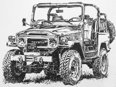 New cars art toyota 47 ideas Toyota Cruiser, Toyota Fj40, Fj Cruiser, Carros Toyota, Land Cruiser 70 Series, Cool Car Drawings, Car Illustration, Illustrations, Expedition Vehicle