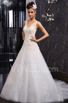Lace V-neck Chapel Train A-line Wedding Dress with Beading