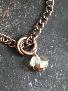 Copper Chain Bracelet with Swarovski Crystal Beads by AccentsByCat