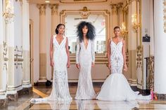 white lace mermaid wedding dress inspiration for african american bride