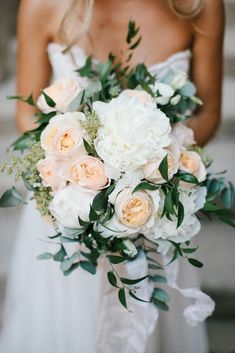 Peach & White Wedding Bouquet   Chris Barber Photography