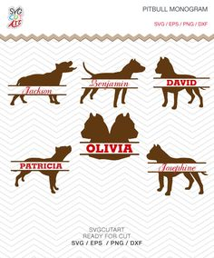 Pitbull Split SVG DXF PNG eps decal dog Monogram animal pet nature Cut File for Cricut Design, Silhouette studio, Sure A Lot, Makes the Cut by SvgCutArt on Etsy