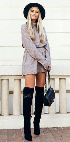 #winter #fashion /  Grey Playsuit + Black Hat